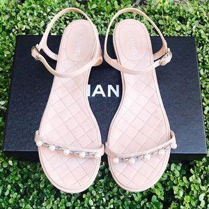 {CHANEL} Pink Patent Calfskin Sandals Size 39.5EUR